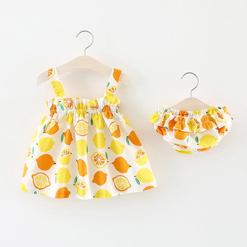 ชุดเดรสสีขาวลายส้ม+กางเกงใน แพ็ค 4 ชุด [size 6m-1y-18m-2y]