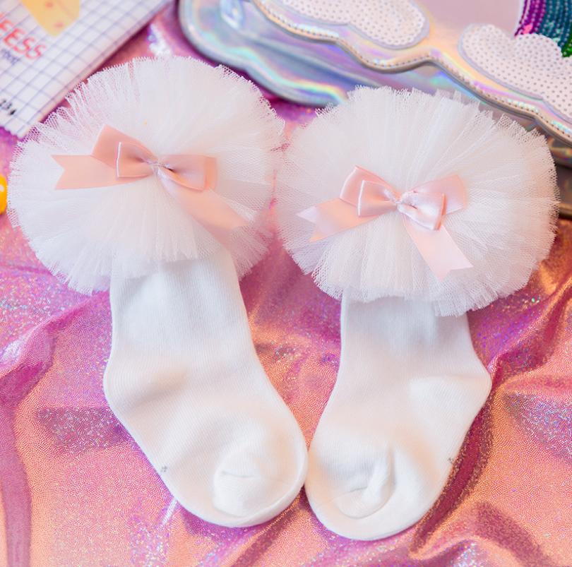 ถุงเท้าสั่ง สีขาวโบว์ชมพู แพ็ค 6 คู่ ไซส์ S (ประมาณ 1-3 ปี)