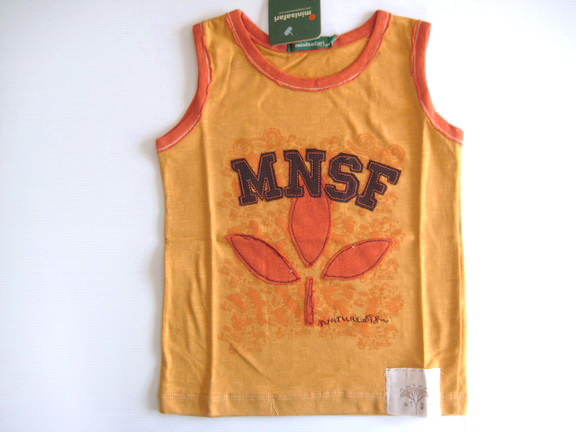 KPTT031L MiniSafari เสื้อเด็กชาย เสื้อกล้าม/แขนกุด สีส้มอิฐกุ๊นส้ม ลายสกรีน+ปักแปะ ใบไม้ MNSF เหลือ Size 3Y