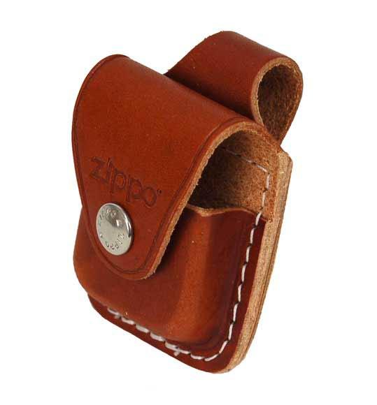 กระเป่าหนังใส่ไฟแช็ค Zippo แท้ - Genuine Zippo LPLB, Brown Leather Lighter Pouch with Loop แบบห่วง