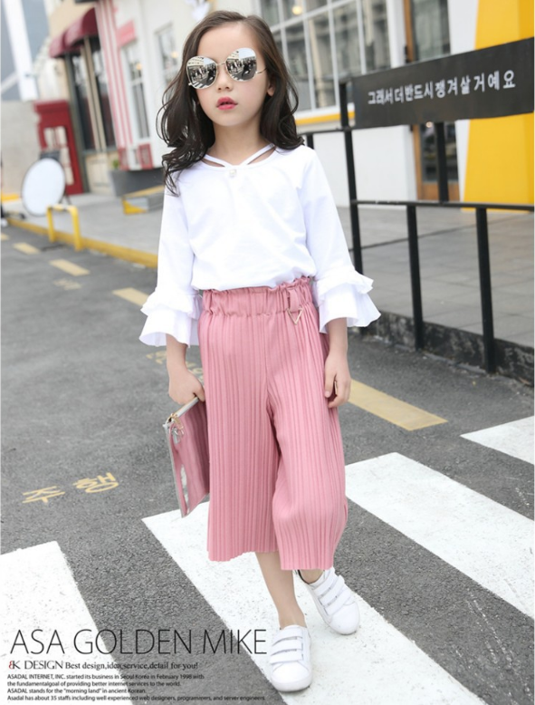 เสื้อ+กางเกง สีชมพู แพ็ค 5 ชุด ไซส์ 120-130-140-150-160 (เลือกไซส์ได้)