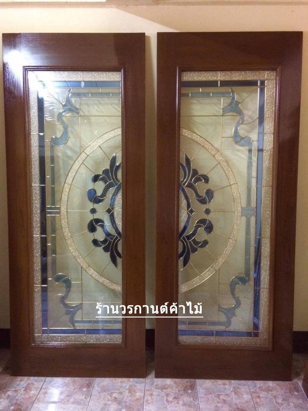 ประตูไม้สักกระจกนิรภัยเต็มบาน สีน้ำเงิน เกรดA รหัส A04