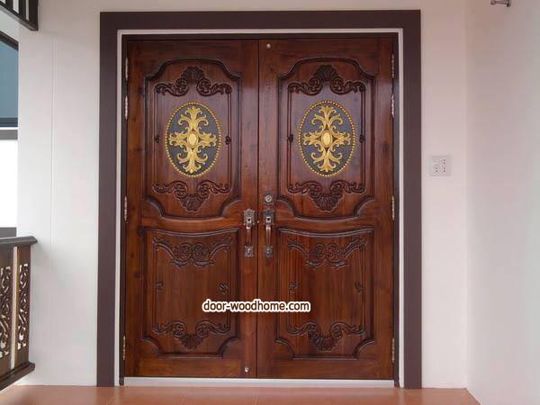 ประตูไม้สักบานคู่ แกะหลุย รหัส BBB12
