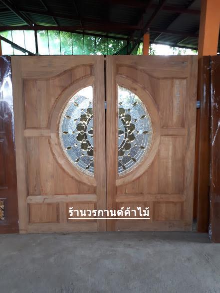 ประตูไม้สักกระจกนิรภัย แตงโม เกรดA รหัส AA16