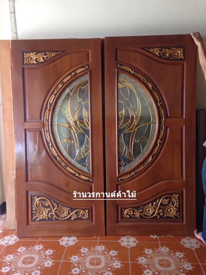 ประตูไม้สักกระจกนิรภัย เกรดA รหัส A24