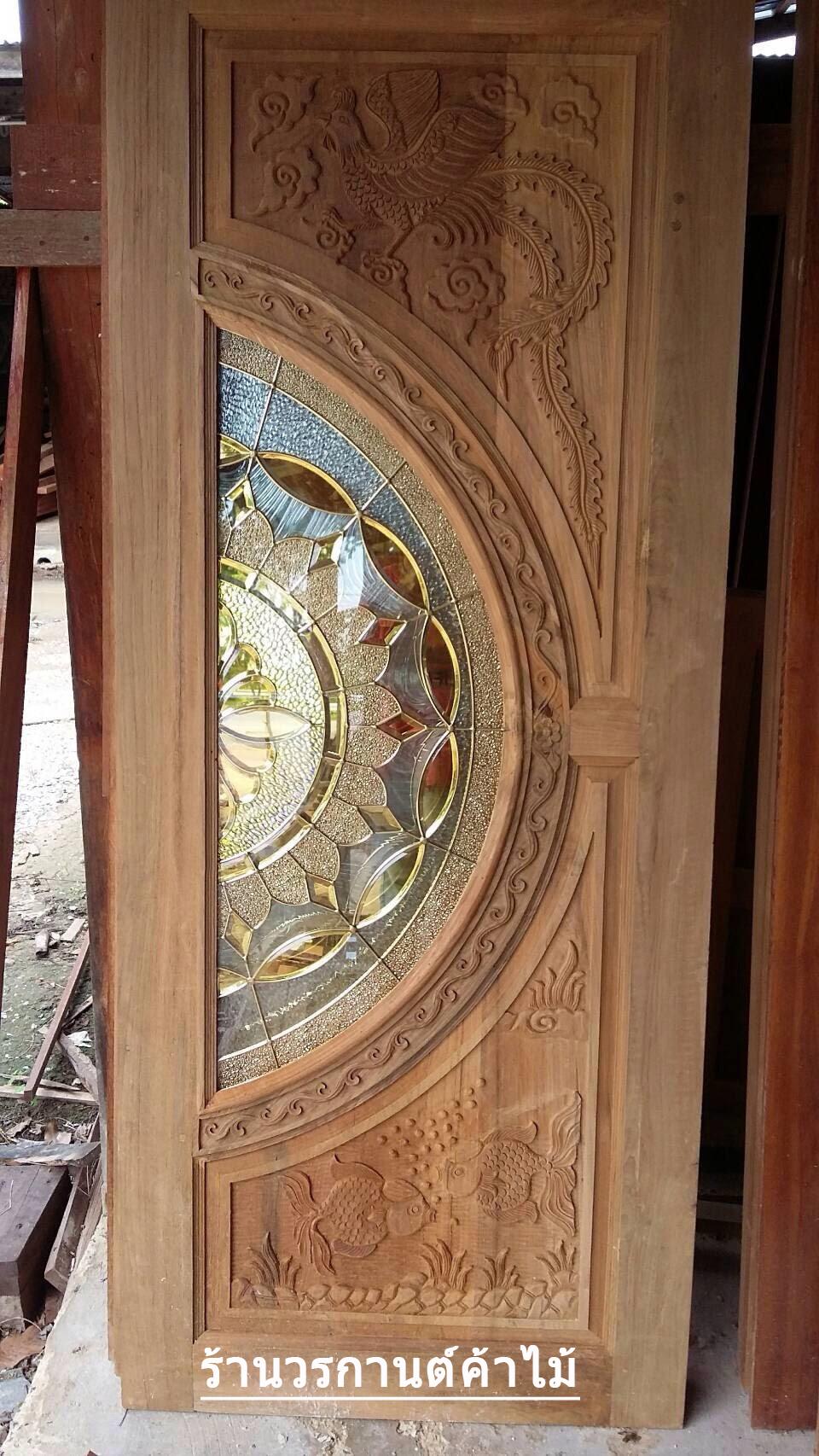 ประตูไม้สักกระจกนิรภัย เกรดA