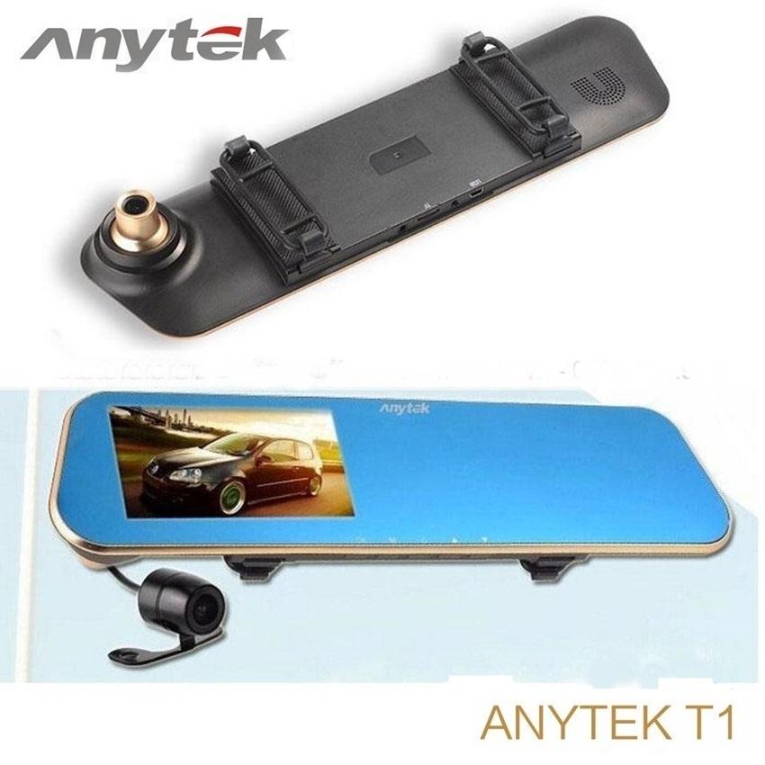ล้องติดรถยนต์ Anytek T1C ติดกระจกมองหลัง 2 กล้อง หน้า-หลัง
