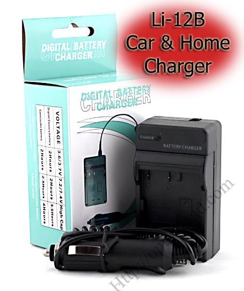 Home + Car Battery Charger For Olympus Li-12B