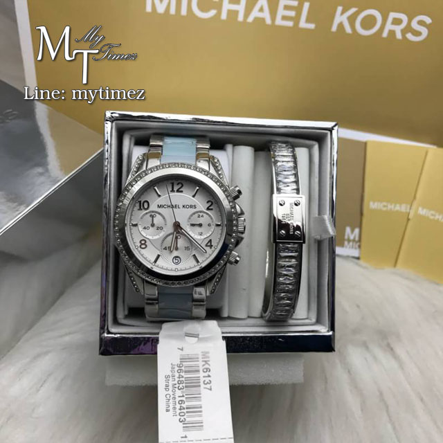 MICHAEL KORS Blair Chronograph Silver Dial Stainless Steel with Chambray Acetate Ladies Watch MK6137 + Bracelet Set