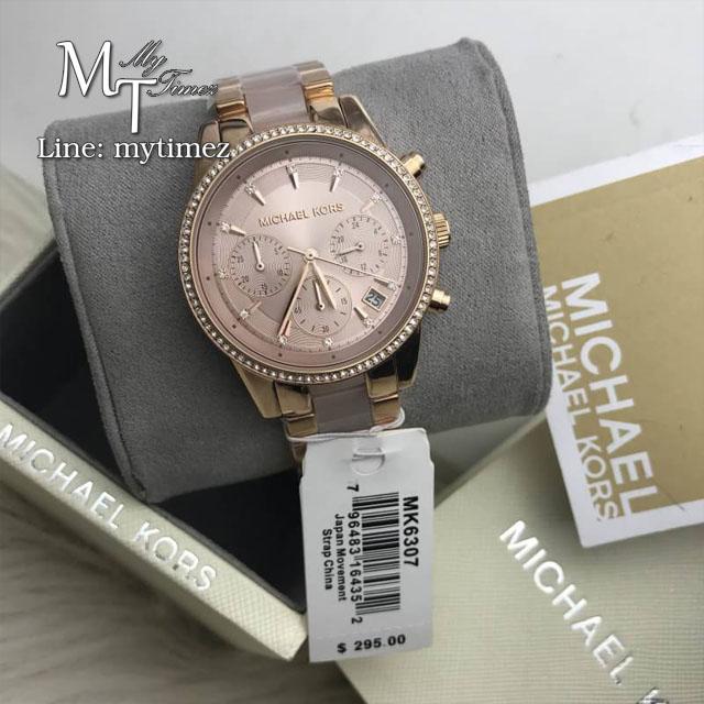 นาฬิกาข้อมือ MICHAEL KORS รุ่น Ritz Quartz Chronograph Rose Dial Rose Gold-tone Pink Acetate Ladies Watch MK6307