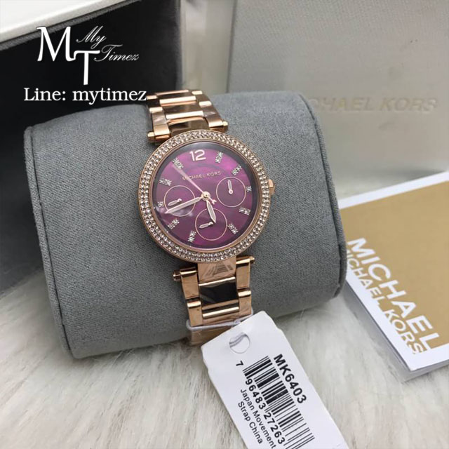 MICHAEL KORS Mini Parker Multifunction Plum Mother of Pearl Ladies Watch MK6403