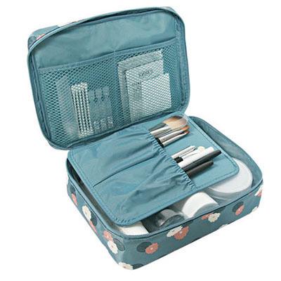 กระเป๋าเครื่องสำอางค์สำหรับเดินทาง สีฟ้าลายดอกไม้