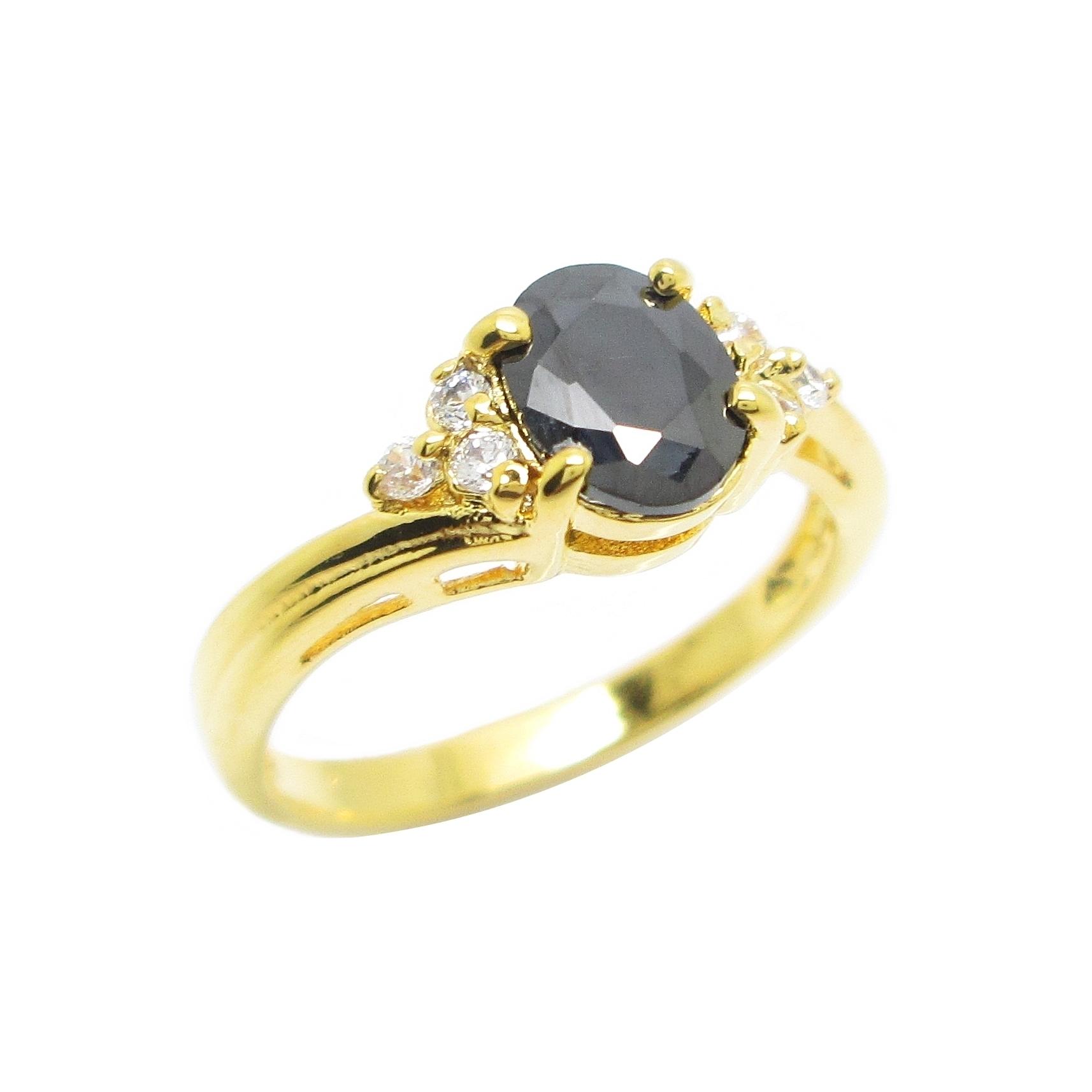 แหวนพลอยสีนิลประดับเพชรข้างชุบทอง