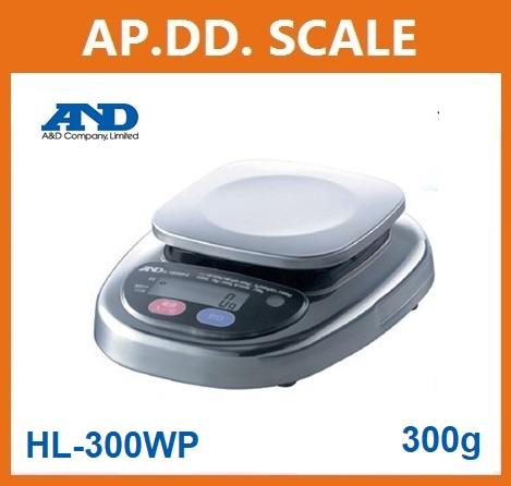 ตาชั่งดิจิตอล เครื่องชั่งดิจิตอล เครื่องชั่งกันน้ำ 300g ความละเอียด 0.1g AND HL-WP-300 ขนาดจานชั่ง 12.8x12.8cm.