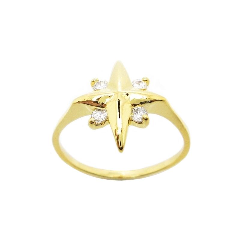 แหวนดาวแฉกประดับเพชรชุบทอง
