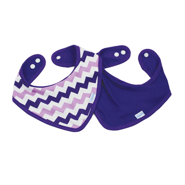 Bumkins ผ้ากันเปื้อน ชนิดผ้า cotton แบบกันน้ำ รุ่น Bandana Bib - สี Purple + สี Purple Chevron (2 ชิ้น)