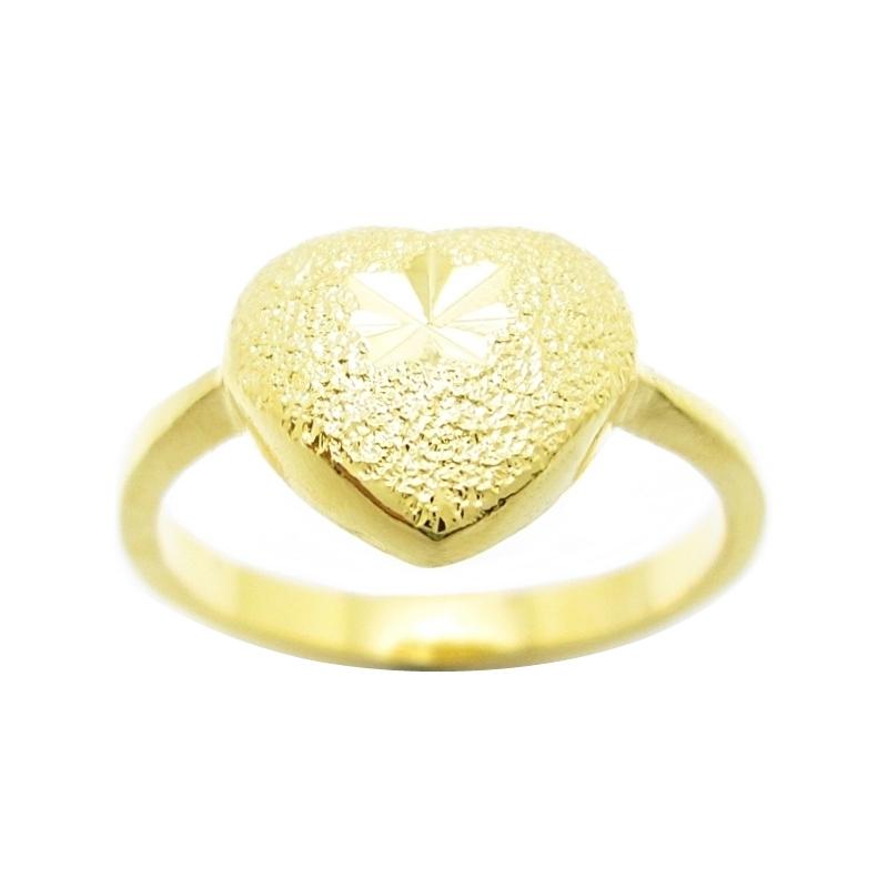 แหวนหัวใจตัดลายจิกเพชรชุบทอง