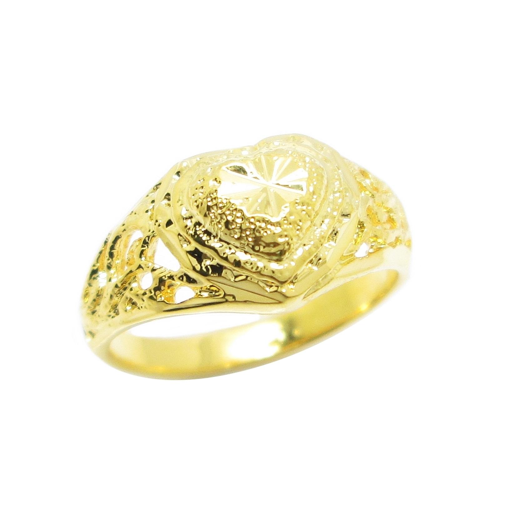 แหวนฉลุหัวใจตัดลายจิกเพชรชุบทอง