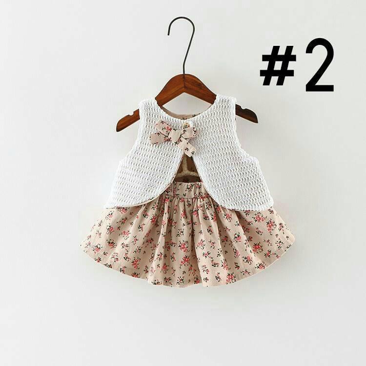 เซทเสื้อกั๊กกับกระโปรงแนววินเทจ สำหรับเด็กผู้หญิง