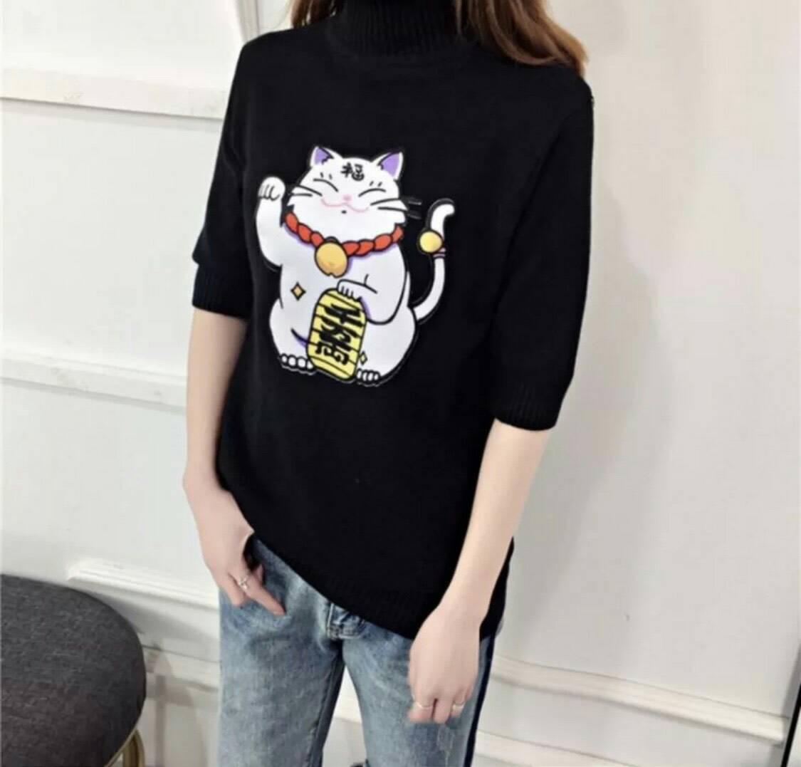 เสื้อแฟชั่นลายน้องแมวสีดำ