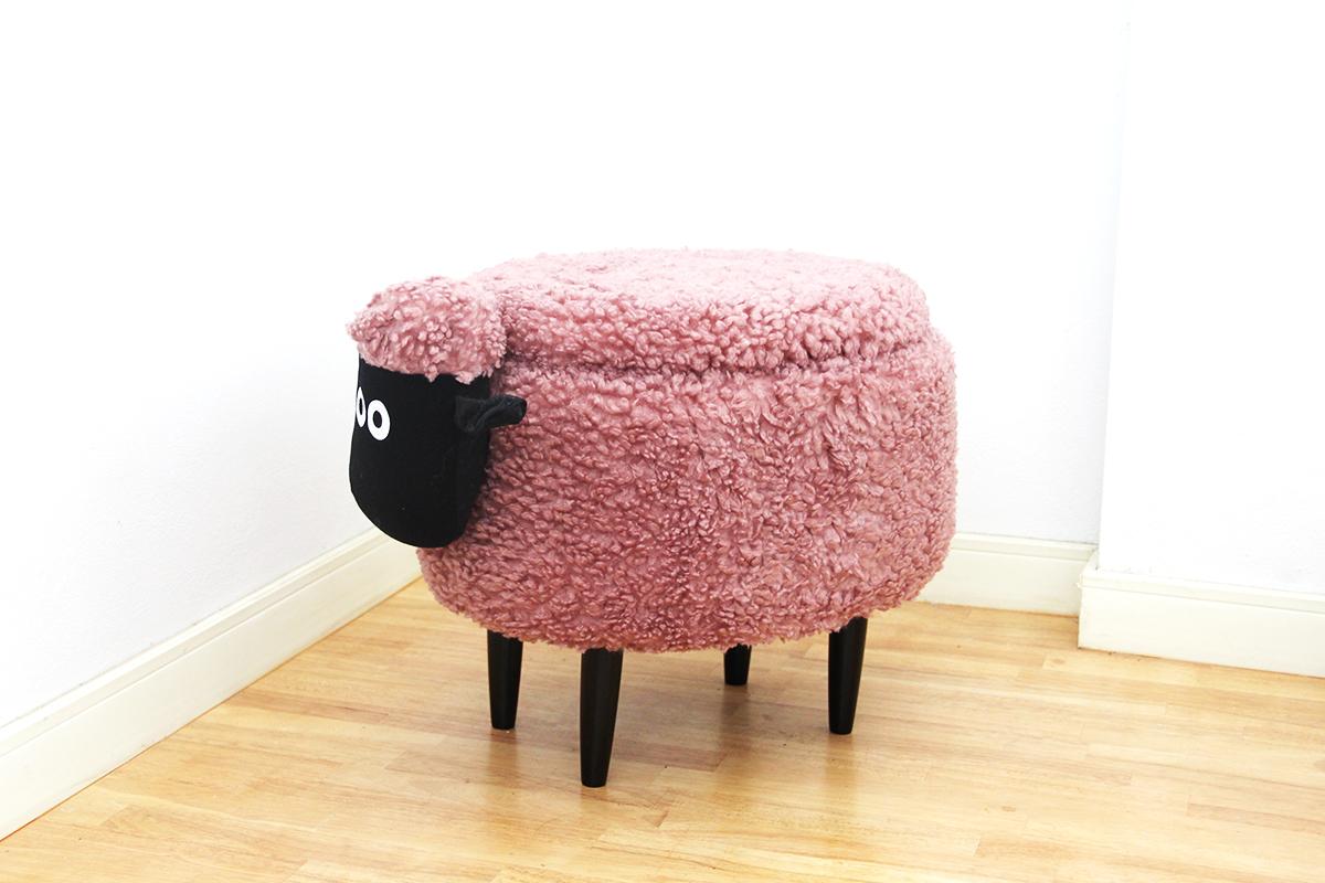 เก้าอี้เก็บของได้รูปแกะ สีชมพูกะปิ
