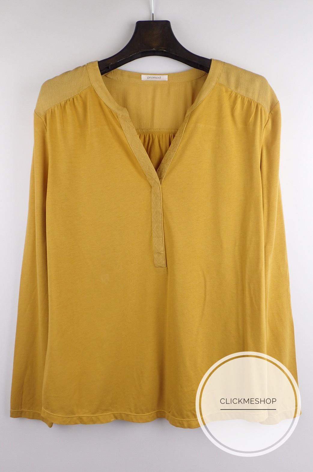 (ไซส์ L หน้าอก 40-42 นิ้ว ) เสื้อยืดแขนยาว สีมัสตาด ยี่ห้อ Promod ผ้านิ่มๆ คอจีนแต่งลายที่คอ