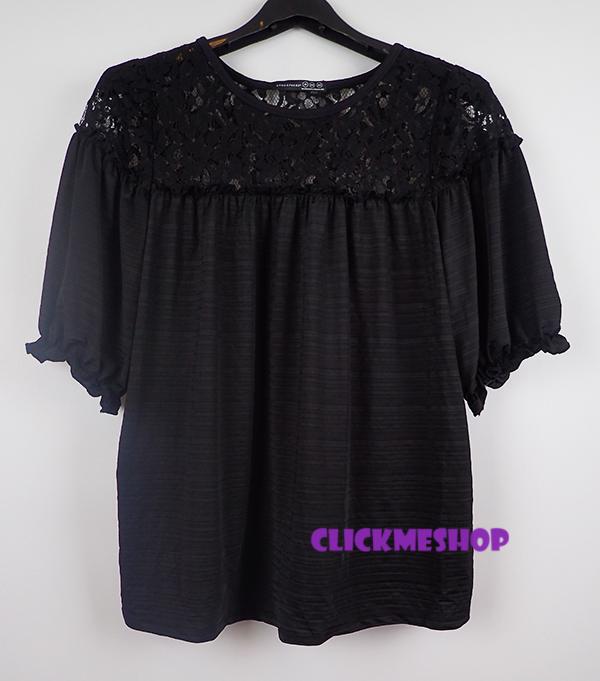 (ไซส 16 หน้าอก 42-44 หน้าอก 27 นิ้ว) เสื้อผ้ายืด สีดำช่วงคอเสื้อสวยมีลูกไม้รอบคอ ยี่ห้อ atmosphear แขนสั้นทรงหลวมๆ น่ารักคะ