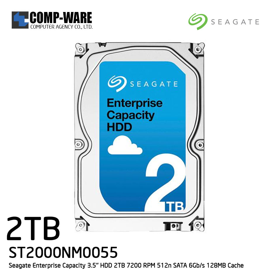 Seagate Enterprise Capacity 3.5'' HDD 2TB 7200RPM SATA 6Gb/s 128MB Cache Internal Hard Drive ST2000NM0055