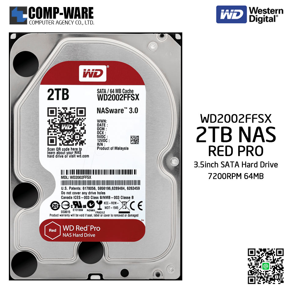 WD Red PRO 2TB NAS Hard Disk Drive - 7200RPM SATA 6Gb/s 64MB Cache 3.5Inch - WD2002FFSX