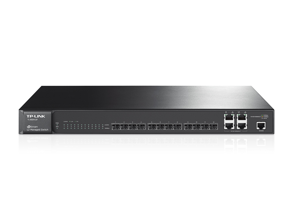 TP-Link JetStream 12-Port Gigabit SFP L2 Managed Switch with 4 Combo 1000BASE-T Ports TL-SG5412F