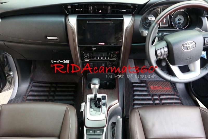 พรมปูพื้นรถยนต์ REVO 4ประตู สีดำ-แดง BY RIDA CAMAT 360