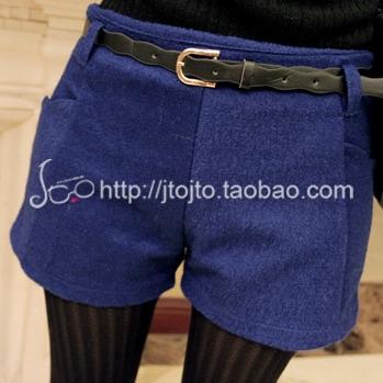 [Perorder] กางเกงขาสั้นแฟชั่น พร้อมเข็มขัดเก๋ๆ สีน้ำเงิน Keren ~ 2012 new winter sweet wave belt ladies' casual pants woolen shorts