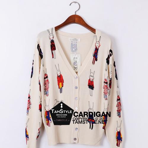 Coat-206 เสื้อคลุม Cadigan แขนยาว พิมพ์ลายกระต่าวยสีครีม ผ้านิ่มใส่สบาย อก 36 นิ้วยาว 18 นิ้ว (สินค้าพร้อมส่ง)