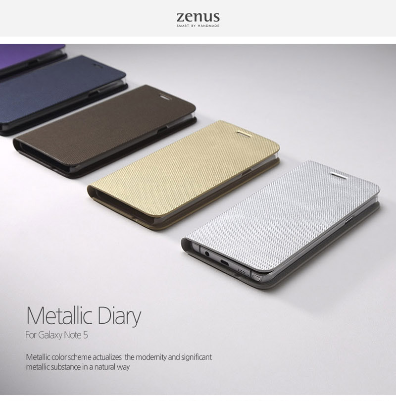 Zenus : Metallic Diary Kickstand PU Flip Cover Case For Galaxy Note 5