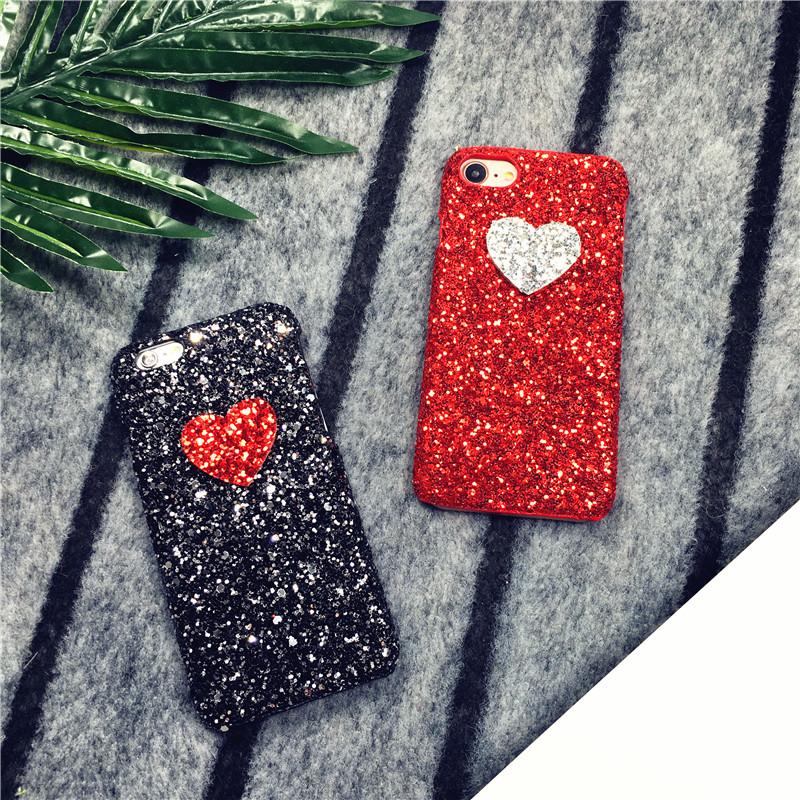 (520-004)เคสมือถือไอโฟน Case iPhone 7 Plus เคส Glitter หัวใจ