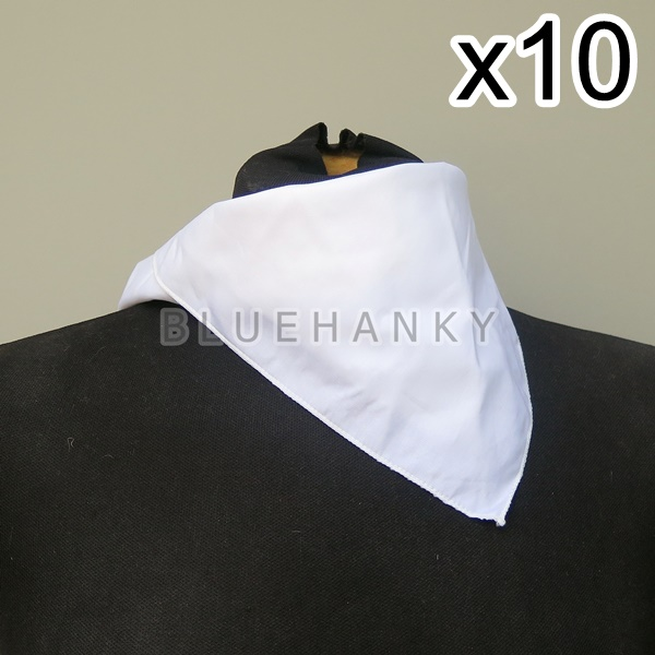 10ผืน สีขาว สี่เหลี่ยม53ซม ผ้าพันคอกีฬาสี ผ้าเช็ดหน้าผืนใหญ่