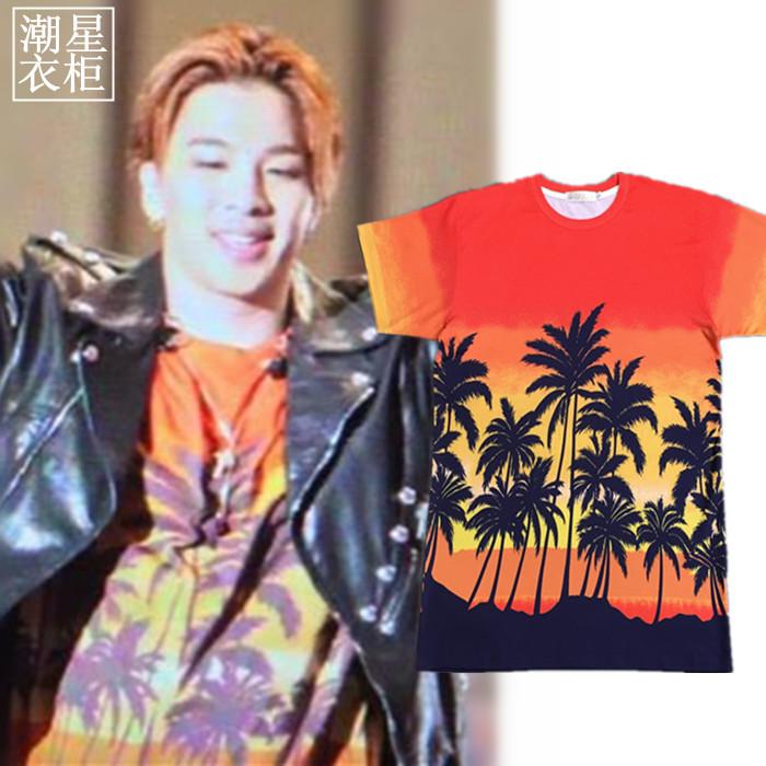 เสื้อยืด Saint Laurent Sleeve Palm Tree Sty.Taeyang -ระบุไซต์-
