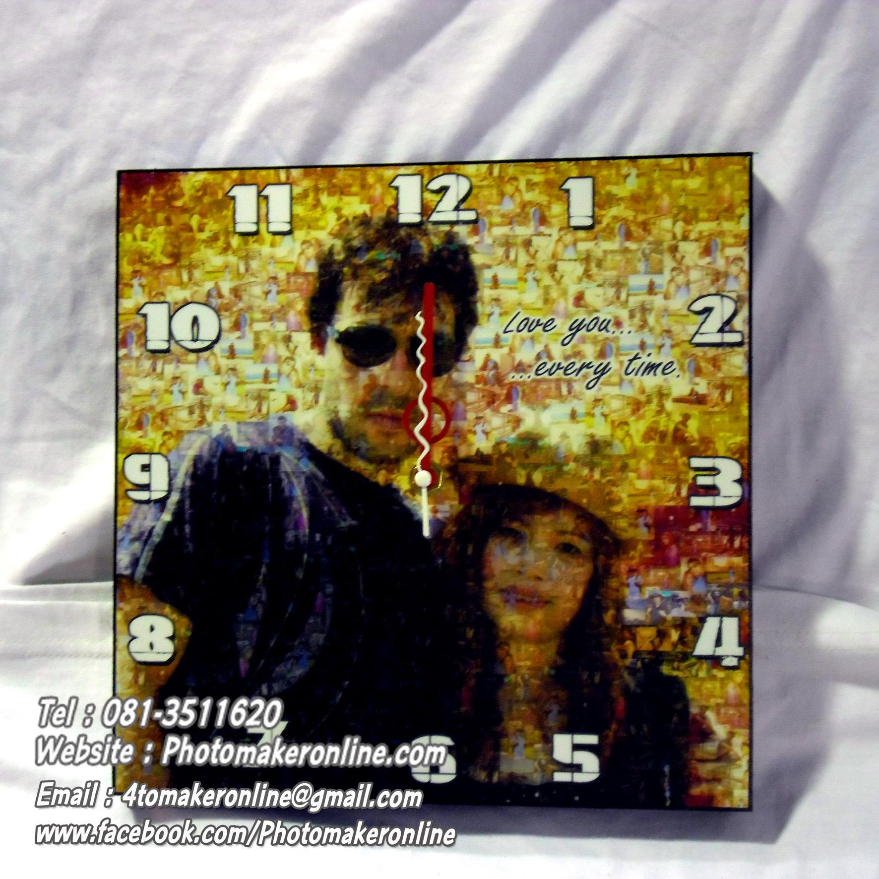 060-รูปโมเสก 10x10 นิ้ว กรอบลอยใส่นาฬิกา
