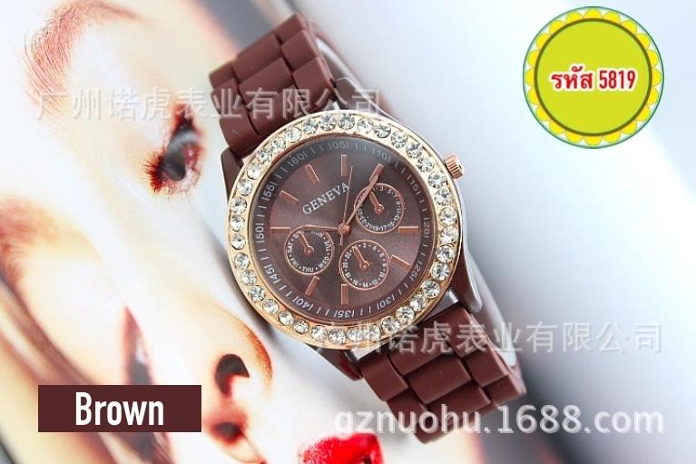 5819-นาฬิกาแฟชั่น สีน้ำตาล
