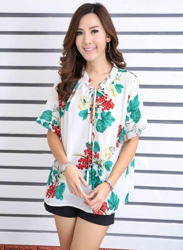 เสื้อผ้าชีฟองเนื้อดี ลายดอกไม้ สายใสสไตล์เกาหลี น่ารักมาก สำเนา