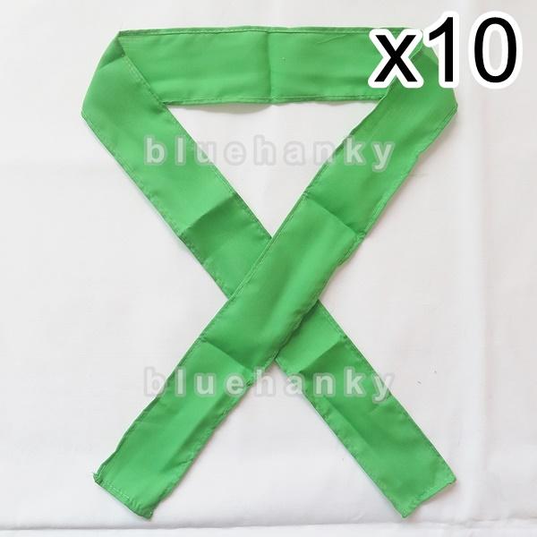 10ชิ้น ผ้าคาดหัว พันข้อมือ พันแขน 5*110ซม สีเขียวตอง