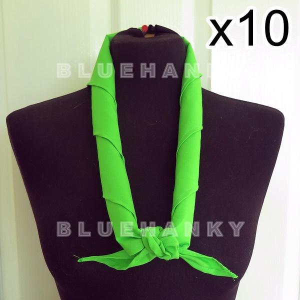 10ผืน สีเขียวตอง สามเหลี่ยม100ซม ลูกเสือ