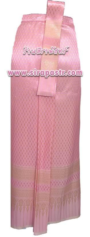 """ผ้าถุงป้าย-หน้านาง N4-1A สีชมพู (เอวใส่ได้ถึง 26""""/28""""/30"""") *แบบสำเร็จรูป-รายละเอียดตามหน้าสินค้า"""