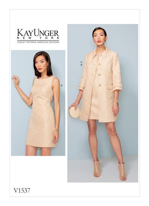 แพทเทิร์นตัดเดรส เสื้อคลุมตัวยาว Vogue 1537 ไซส์ปกติ Size: 6-8-10-12-14 (อก 30.5-36 นิ้ว)