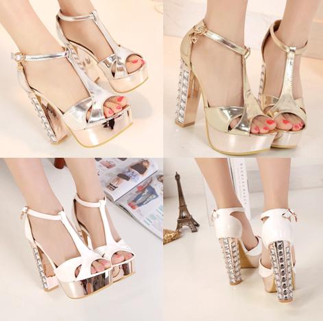 รองเท้าส้นสูง ไซต์ 34-39 สีเงิน สีทอง สีขาว