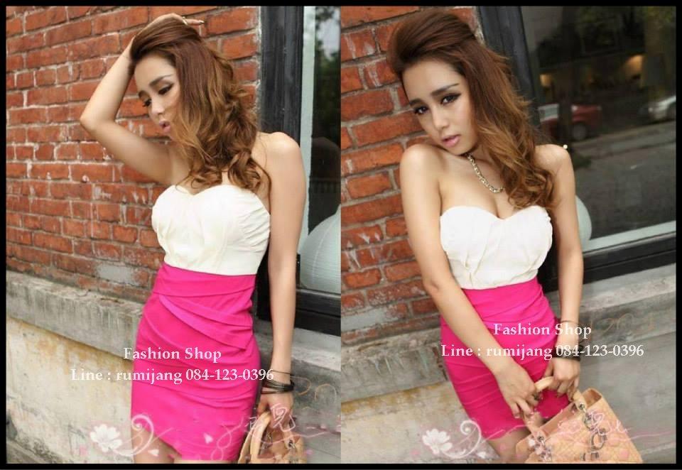 Sexy Dress 13 สีขาวชมพู
