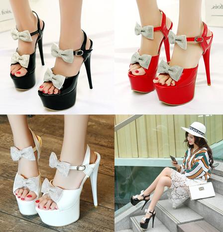 รองเท้าส้นสูงสีขาว/ดำ/แดง ไซต์ 34-39
