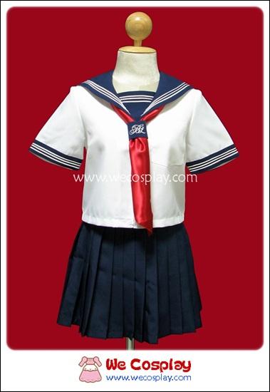 ชุดนักเรียนญี่ปุ่น สีขาว แขนสั้น ปกกะลาสี