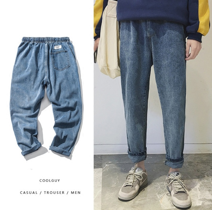 *Pre Order*กางเกงแฟชั่นชาย ผ้ายีนส์นิ่ม,เอวยืด,ทรงหลวม size M-2XL