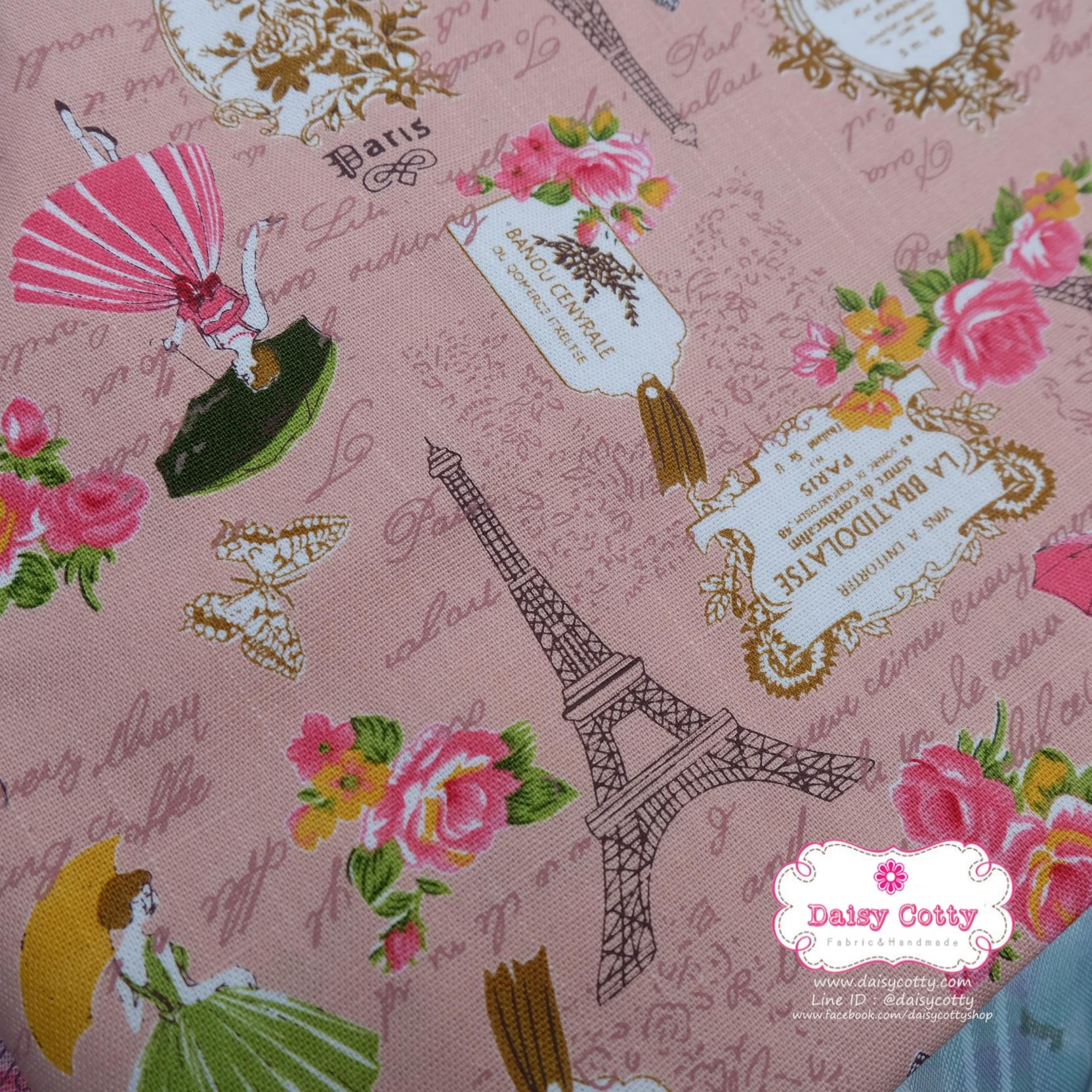 ผ้าคอตตอนลินิน 1/4ม.(50x55ซม.) พื้นสีโอรส ลายวินเทจ